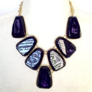 Jewelry - Purplish Blue Chunky Pendant Statement Necklace